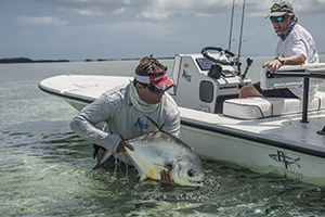 flats boat fishing. fishing the flats for permit in Key West fishing guide releases permit