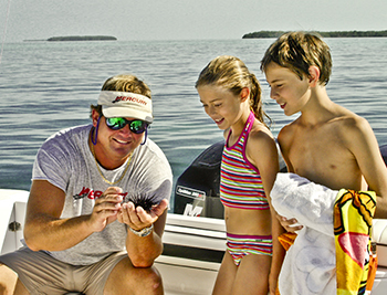 Kids discovering marine life in Key West on an Eco Tour with Dream Catcher Charters