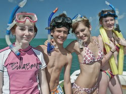 Snorkeling kids and snorkeling gear